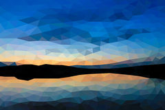 Low poly sunset on the lake. Low poly vector sunset on the lake Stock Photography