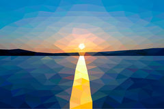 Low poly sunset on the winter lake. Low poly vector sunset on the winter lake Stock Photos