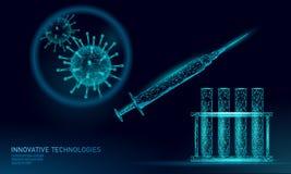 Low poly test tube virus syringe. Laboratory analysis medical disease infection treatment. Modern science technology royalty free stock image