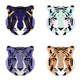 Low poly tigers set. Simple geometric art Stock Image