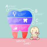 Low poly tooth with baby. Cute cartoon low poly tooth with baby, infographic,great for dental care concept design Stock Photo