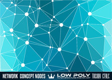 Low Poly trangular network with nodes background for your futuristic flyer Royalty Free Stock Image