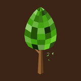 Low poly tree isolated. Low poly tree with green leaf and brown trunk. Isolated on brown backdrop. Vector illustration Stock Image