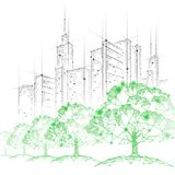 Low poly tree park cityscape. Ecology save nature concept. Eco idea forest in urban skyscrape city. Environmental stock photo