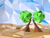Low Poly Tree. Two low poly trees with sky Stock Photos