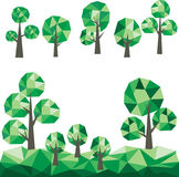 Low poly trees Clip Art. Vector graphic. Abstract green trees. Clip Art vector illustration