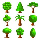 Low poly trees isolated on white vector Royalty Free Stock Image