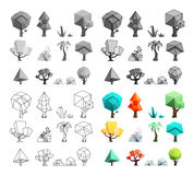 Low poly trees rocks grass icons set flat design line art vector illustration Royalty Free Stock Photos