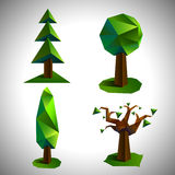 Low poly trees set vector Royalty Free Stock Photos
