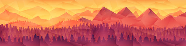 Low poly triangle geometrical background with mountain range over sunset. Vector illustration Royalty Free Stock Photo