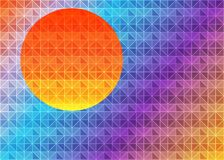 Low poly triangle geometrical background with sun over sunset. Multicolor polygonal vector illustration, which consist of triangle Royalty Free Stock Images