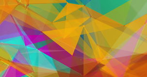 Low-poly triangles in bright colours background VJ seamless loop 15s 4K stock footage