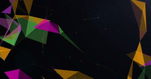 Low-poly triangles moving on dark background seamless VJ loop 15s 4K stock video