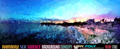 Low Poly tSea Sunset Art background for your polygonal flyer Stock Image