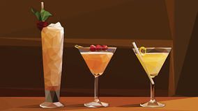 Low Poly Vector Cocktails on a Bar Royalty Free Stock Photography