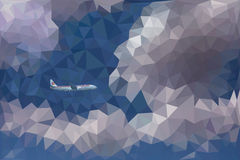 Low poly vector illustration of dramatic sky, clouds and a plane Stock Image