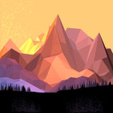 Low Poly Vector Mountain Stock Images