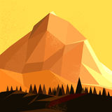 Low Poly Vector Mountain. Landscape Royalty Free Stock Images