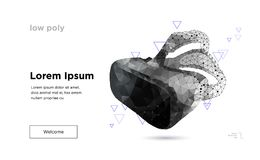 Low poly virtual reality helmet. Royalty Free Stock Image