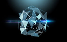 Low poly virtual shape over black background Royalty Free Stock Photos
