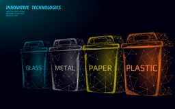 Low poly waste separation 3D concept. Garbage recycle plastic aluminium paper glass container bin. Polygonal ecological. Save planet campaign. Urban trash royalty free illustration