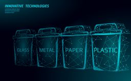 Low poly waste separation 3D concept. Garbage recycle plastic aluminium paper glass container bin. Polygonal ecological. Save planet campaign. Urban trash stock illustration