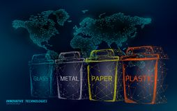 Low poly waste separation world map concept. Garbage recycle plastic aluminium paper glass container bin. Polygonal. Ecological save planet campaign. Urban stock illustration