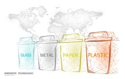 Low poly waste separation world map concept. Garbage recycle plastic aluminium paper glass container bin. Polygonal. Ecological save planet campaign. Urban vector illustration