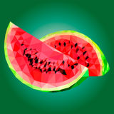 Low poly watermelon  illustration. Vector illustration watermelon, polygonal watermelon, low poly Stock Photography