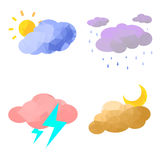 Low Poly Weather set Royalty Free Stock Photo