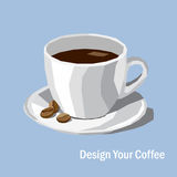 Low poly white porcelain coffee cup and coffee bean on color bac Royalty Free Stock Image