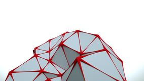 Low poly white surface with red edges 3D rendering. Low poly white surface with red edges. Computer generated abstract graphics. 3D rendering Stock Photography