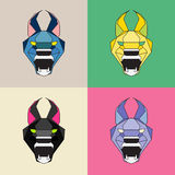 Low poly wild cat set. Geometric line art Royalty Free Stock Image