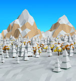 Low poly winter frosty sunny view 3D Royalty Free Stock Photo