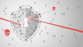 System protection. Cyber security concept: Shield on digital data background. illustration Stock Images