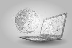 Free Low Poly Wireframe Global World. Planet Earth On Laptop Screen Stock Images - 154591064