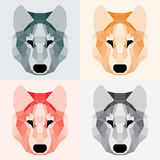 Low poly wolves set. Geometric flat art Royalty Free Stock Photo