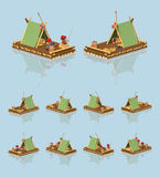 Low poly wooden raft Stock Photography