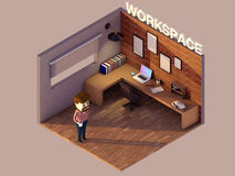 Low poly workspace Royalty Free Stock Photos