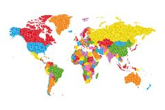 Low Poly World Map with countries on different colors. Vector Illustration Royalty Free Stock Images