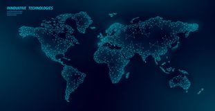 Low poly World map planet Earth global business connection. Online network Europe Africa America continents. International partnership communication polygonal royalty free illustration
