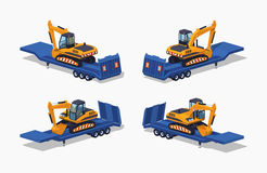 Low poly yellow excavator on the blue low-bed trailer Stock Photography