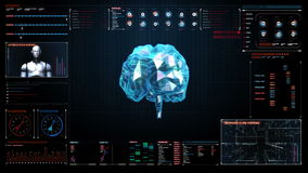 Low polygon Brain, digital lines in digital display interface, grow future artificial intelligence. stock video