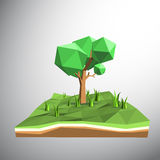 Low polygon 3D tree on land Royalty Free Stock Photography