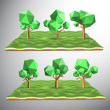 Low polygon 3D tree on land Royalty Free Stock Photo