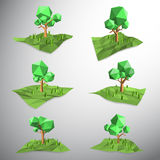 Low polygon 3D tree on land Royalty Free Stock Images