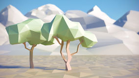 Low polygon 3D trees and mountains in summer Stock Image