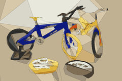 Low polygon detail bikes and accessory. Royalty Free Stock Photography