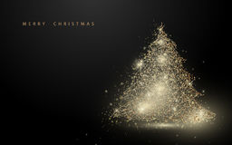 Low polygon gold christmas tree wireframe mesh background. Space for your text Stock Photography
