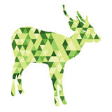 Low polygon green dear Royalty Free Stock Images